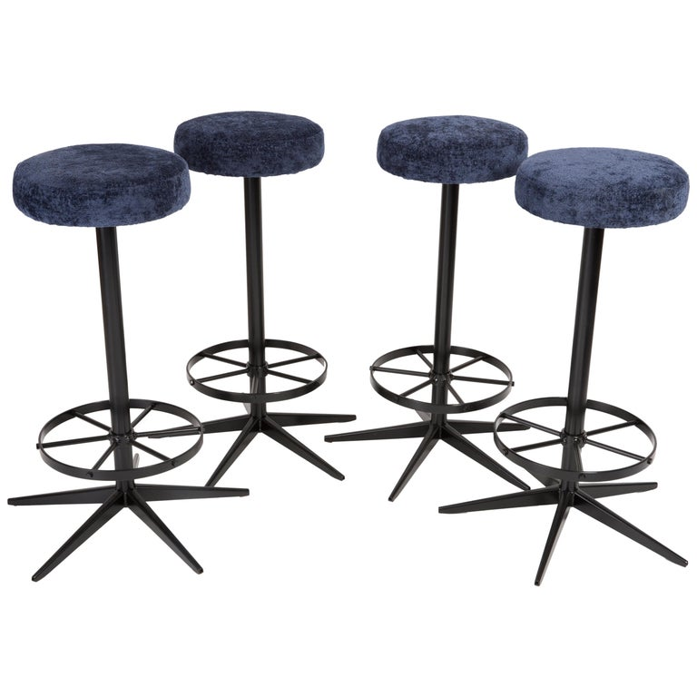 Set of Four Mid-Century Modern Navy Blue Bar Stools, 1960s For Sale