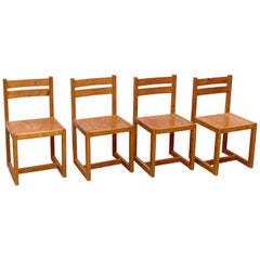 Set of Four Mid-Century Modern Racionalist Wood Chairs from France, circa 1960