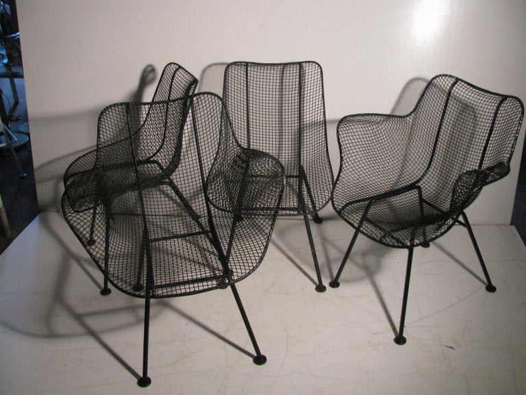 North American Set of Four Mid-Century Modern Sculptura Iron Chairs by Russell Woodard For Sale