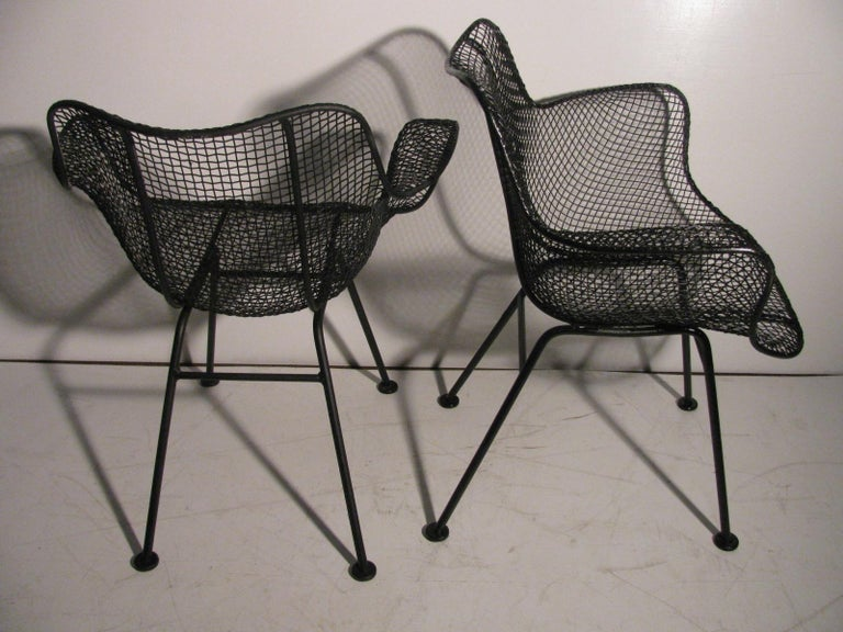 Mid-20th Century Set of Four Mid-Century Modern Sculptura Iron Chairs by Russell Woodard For Sale