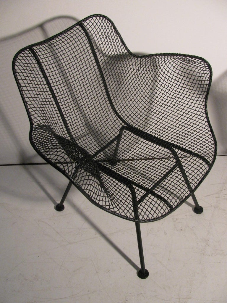 Set of Four Mid-Century Modern Sculptura Iron Chairs by Russell Woodard For Sale 1