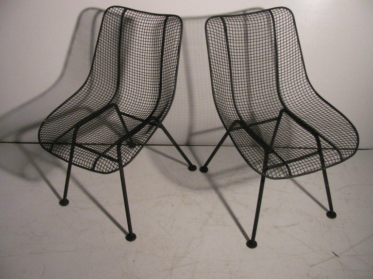 Set of Four Mid-Century Modern Sculptura Iron Chairs by Russell Woodard For Sale 2