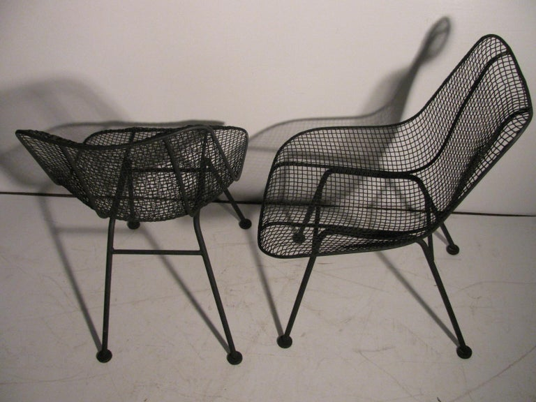 Set of Four Mid-Century Modern Sculptura Iron Chairs by Russell Woodard For Sale 3