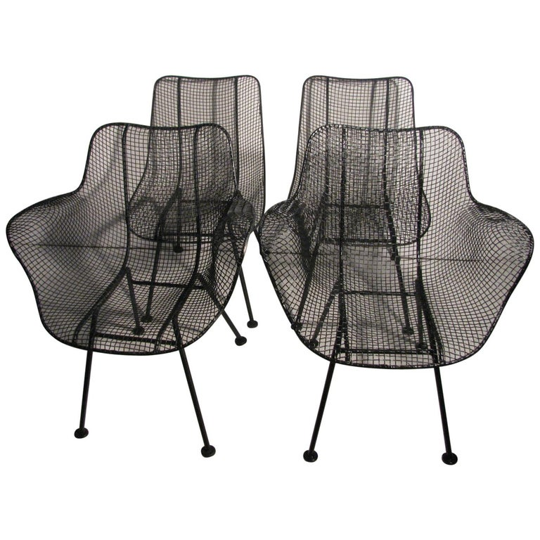 Set of Four Mid-Century Modern Sculptura Iron Chairs by Russell Woodard For Sale