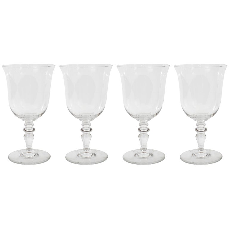 Set of Four Mid-Century Modern Signed Baccarat Crystal Glasses For Sale