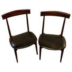 Set of Four Mid-Century Modern Slat Back Black Leather Side Chairs