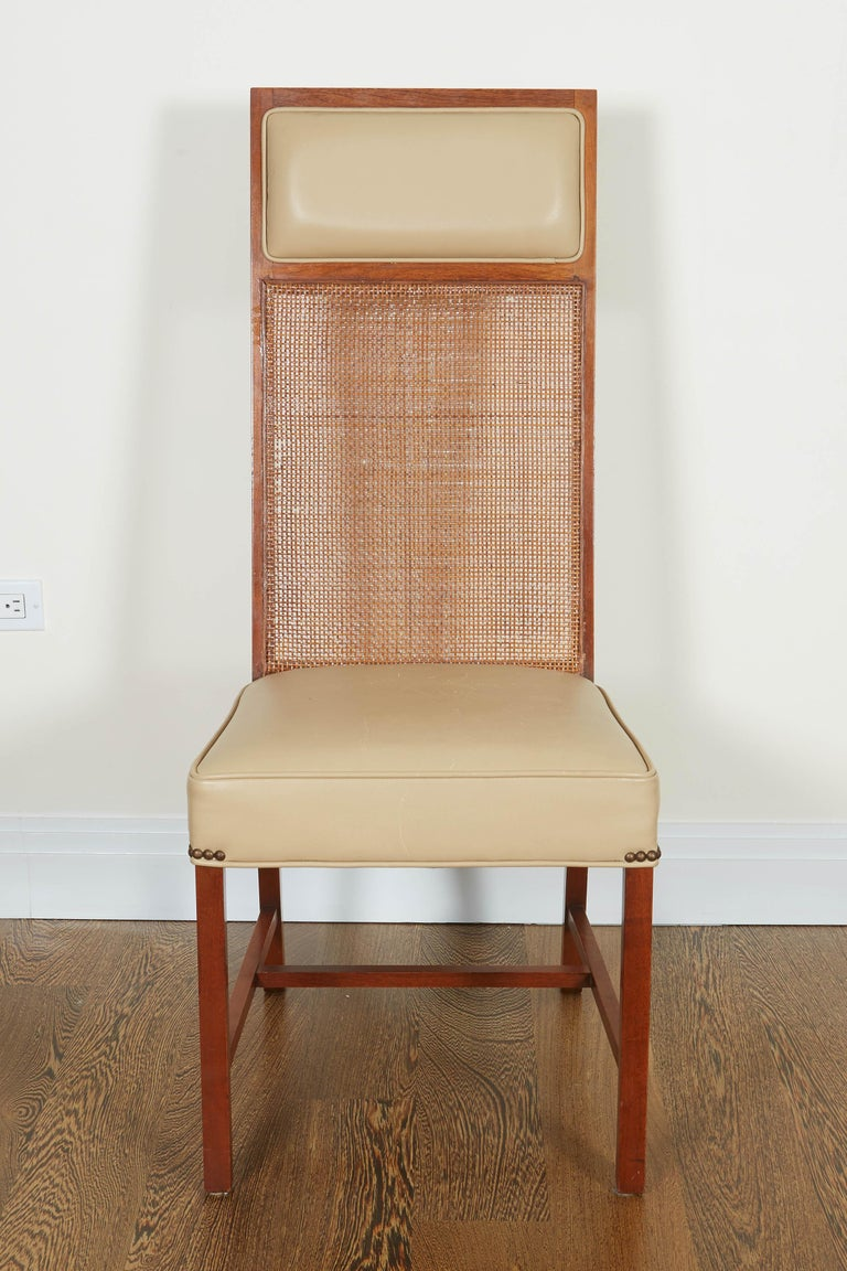 Set of Four Mid-Century Modern Teak and Caned Side Chairs For Sale 6
