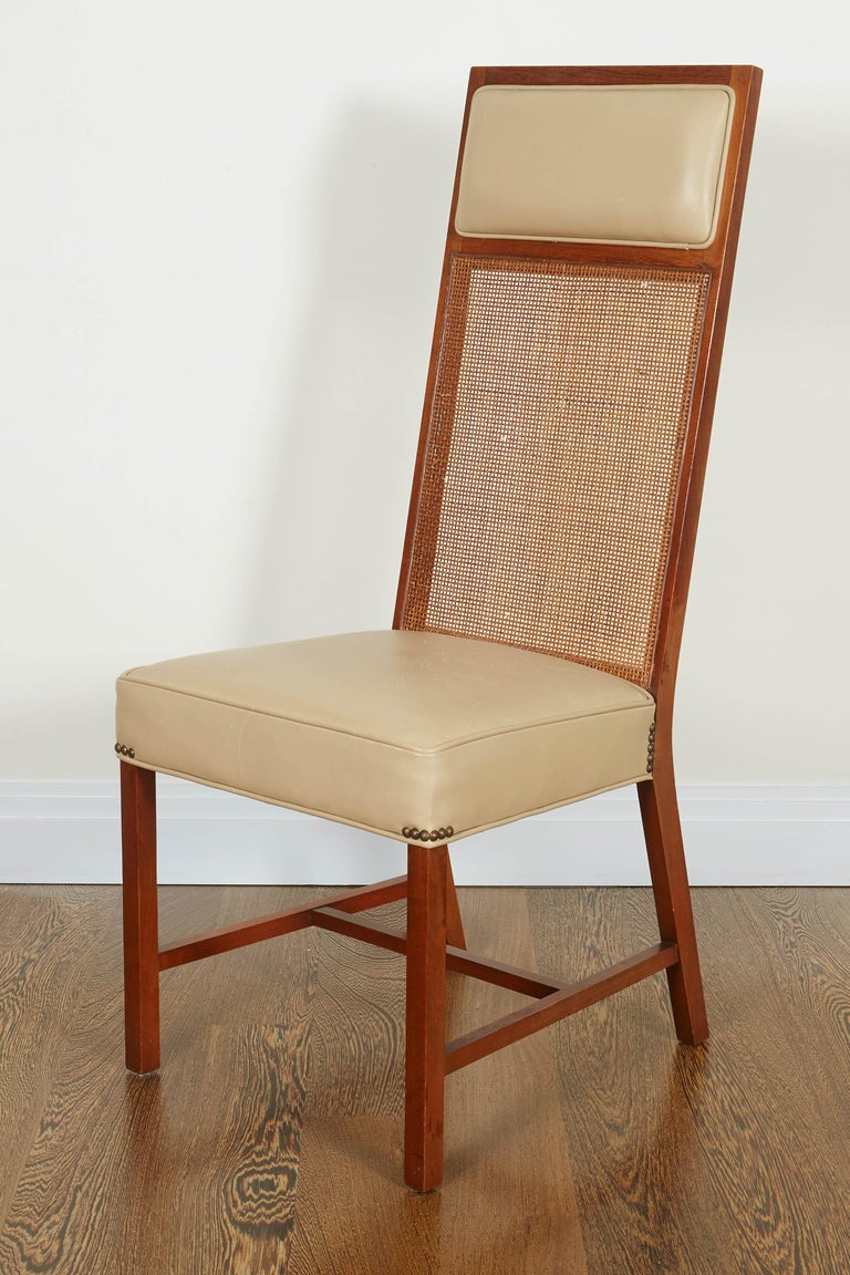 Set of Four Mid-Century Modern Teak and Caned Side Chairs For Sale 8