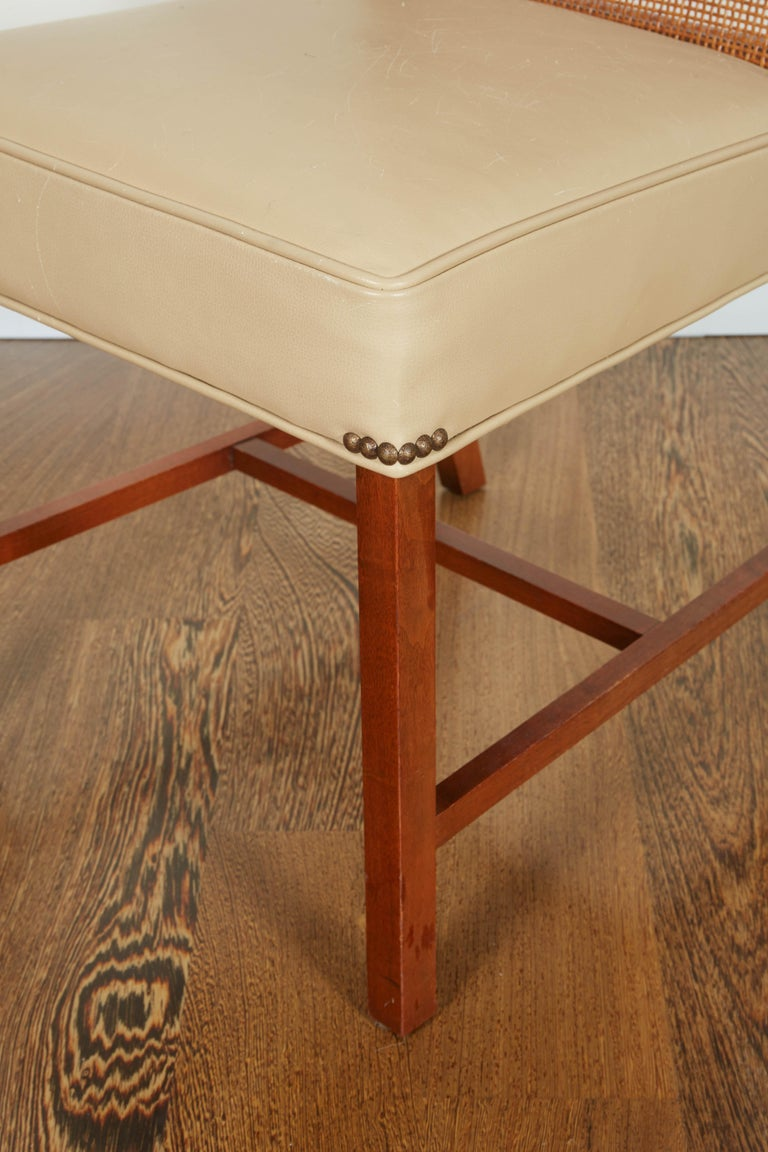 Set of Four Mid-Century Modern Teak and Caned Side Chairs For Sale 9