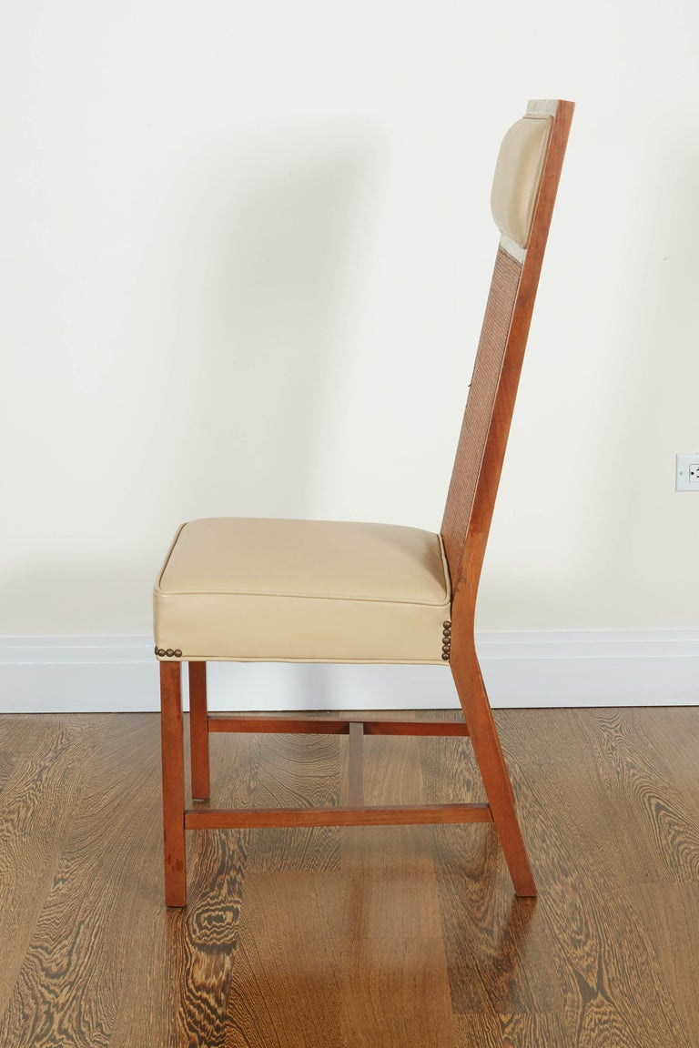 Set of Four Mid-Century Modern Teak and Caned Side Chairs For Sale 11