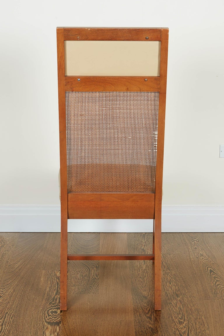Set of Four Mid-Century Modern Teak and Caned Side Chairs For Sale 12
