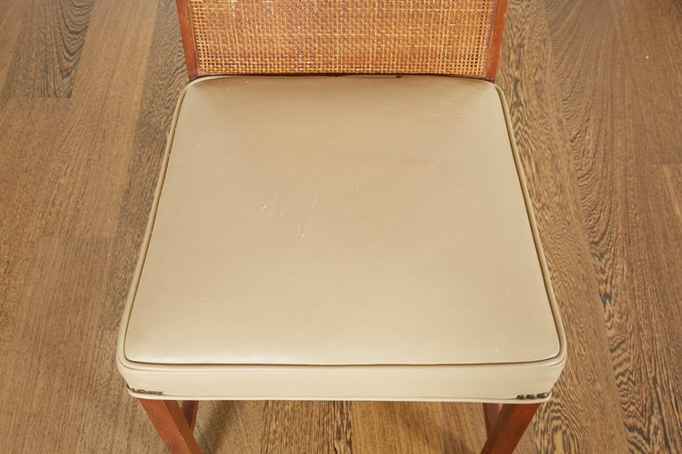 Set of Four Mid-Century Modern Teak and Caned Side Chairs For Sale 4