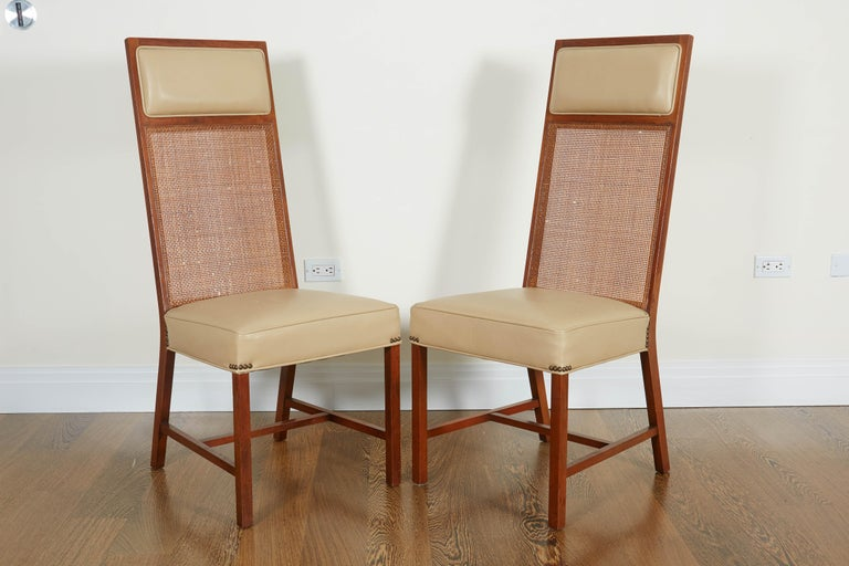 Set of Four Mid-Century Modern Teak and Caned Side Chairs For Sale 5