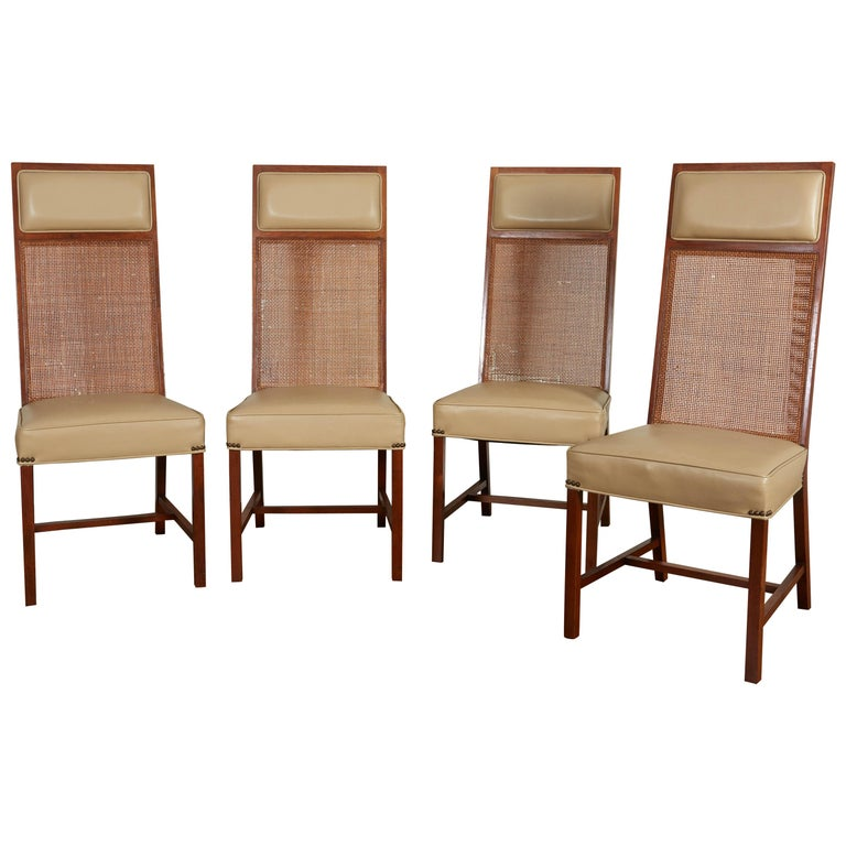 Set of Four Mid-Century Modern Teak and Caned Side Chairs For Sale