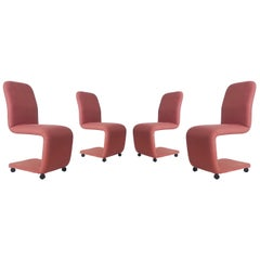Set of Four Mid-Century Modern Upholstered Dining Chairs by DIA