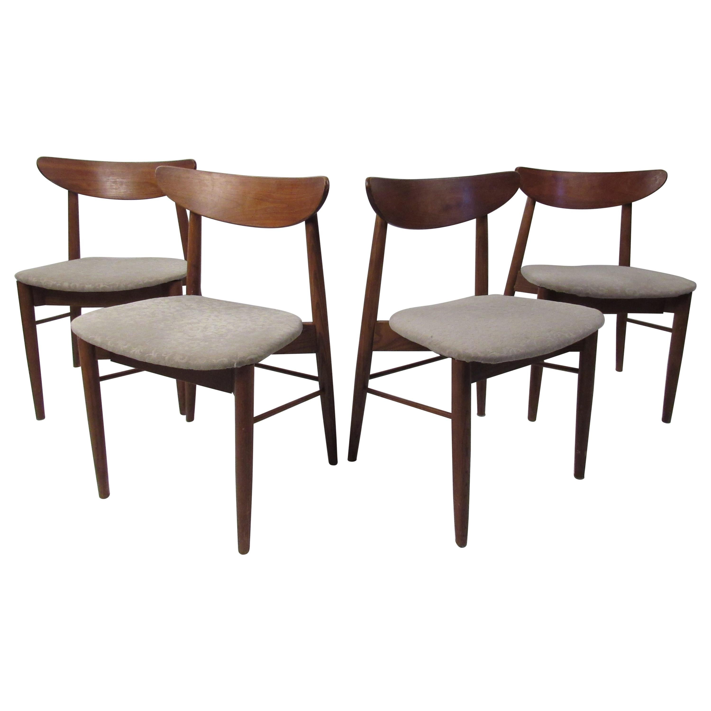 Set of Four Mid-Century Modern Walnut Dining Chairs