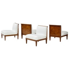 Set of Four Mid-Century Modern Walnut Lounge Chairs by Baker Furniture