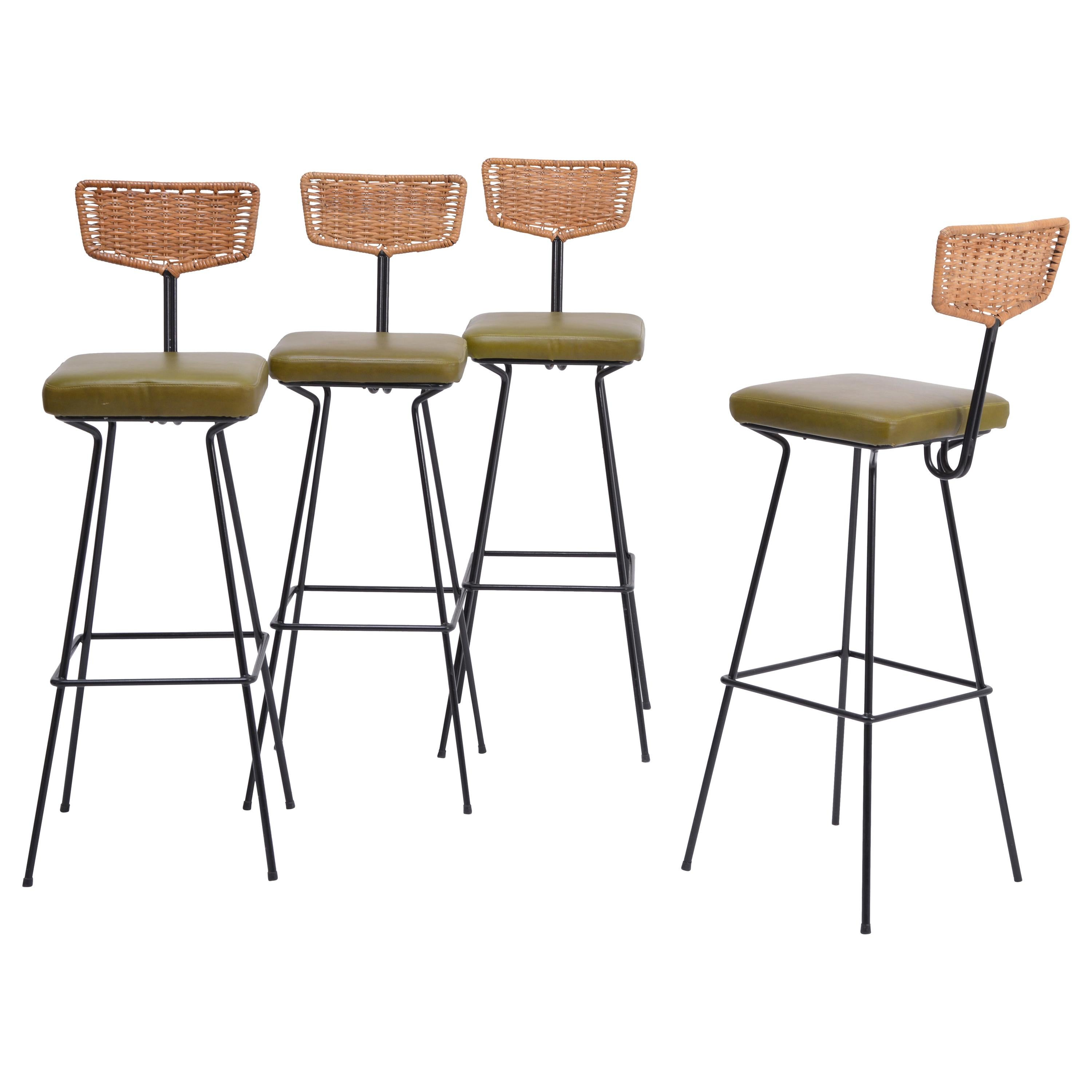 Set of four Mid-Century Modern wicker bar stools by Herta Maria Witzemann