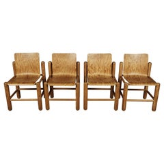 Set of Four Midcentury Pine Dining Chairs, Netherlands, circa 1970