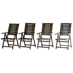 Set of Four Mid Century Reclining Lawn or Patio Chairs