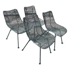 Set of Four Mid Century Russell Woodard Sculptura Mesh Seat Dining Chairs, 1950s