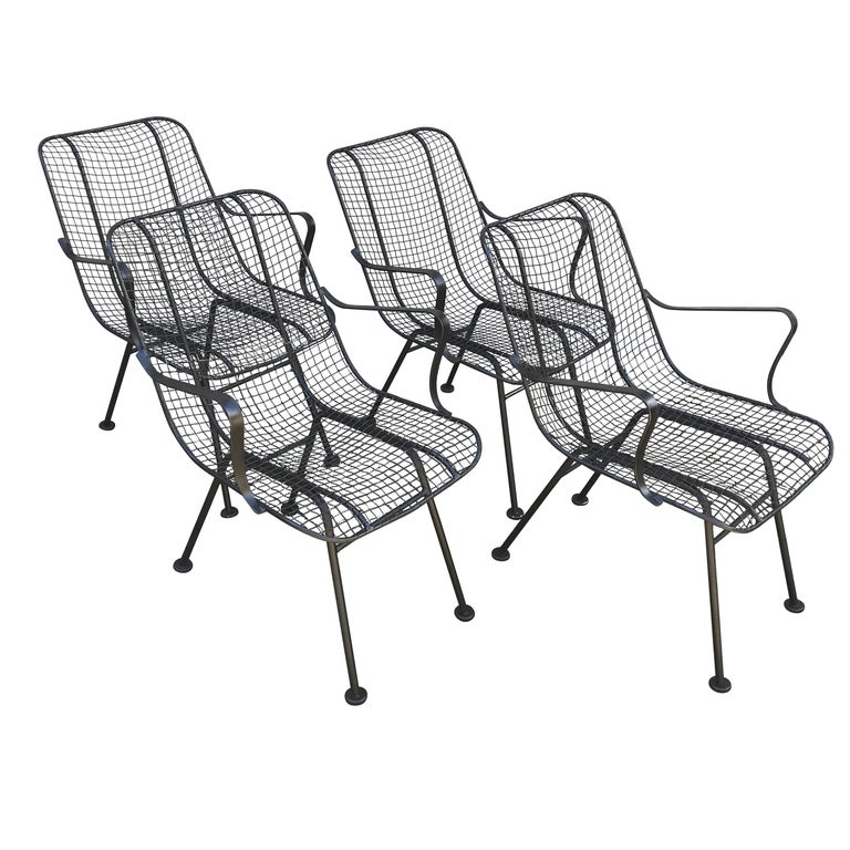 Astounding Set Of Four Mid Century Woodward Wrought Iron Patio Lounge Chairs Evergreenethics Interior Chair Design Evergreenethicsorg