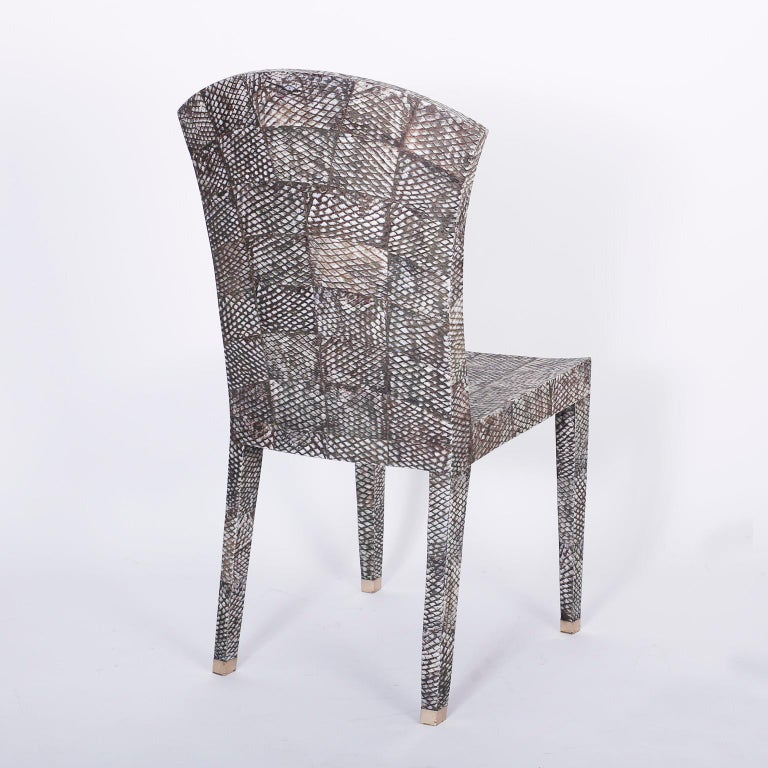 Philippine Set of Four Midcentury Shagreen Covered Dining Chairs For Sale