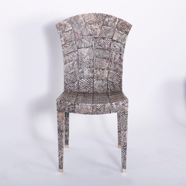 Set of Four Midcentury Shagreen Covered Dining Chairs In Good Condition For Sale In Palm Beach, FL