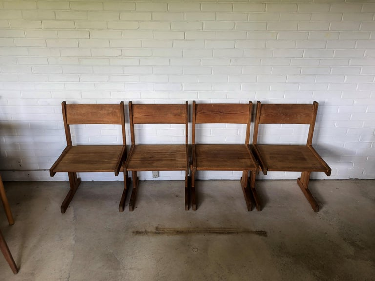 Set of Four Midcentury Solid Oregon Pine Chairs Danish, 1960s For Sale 1