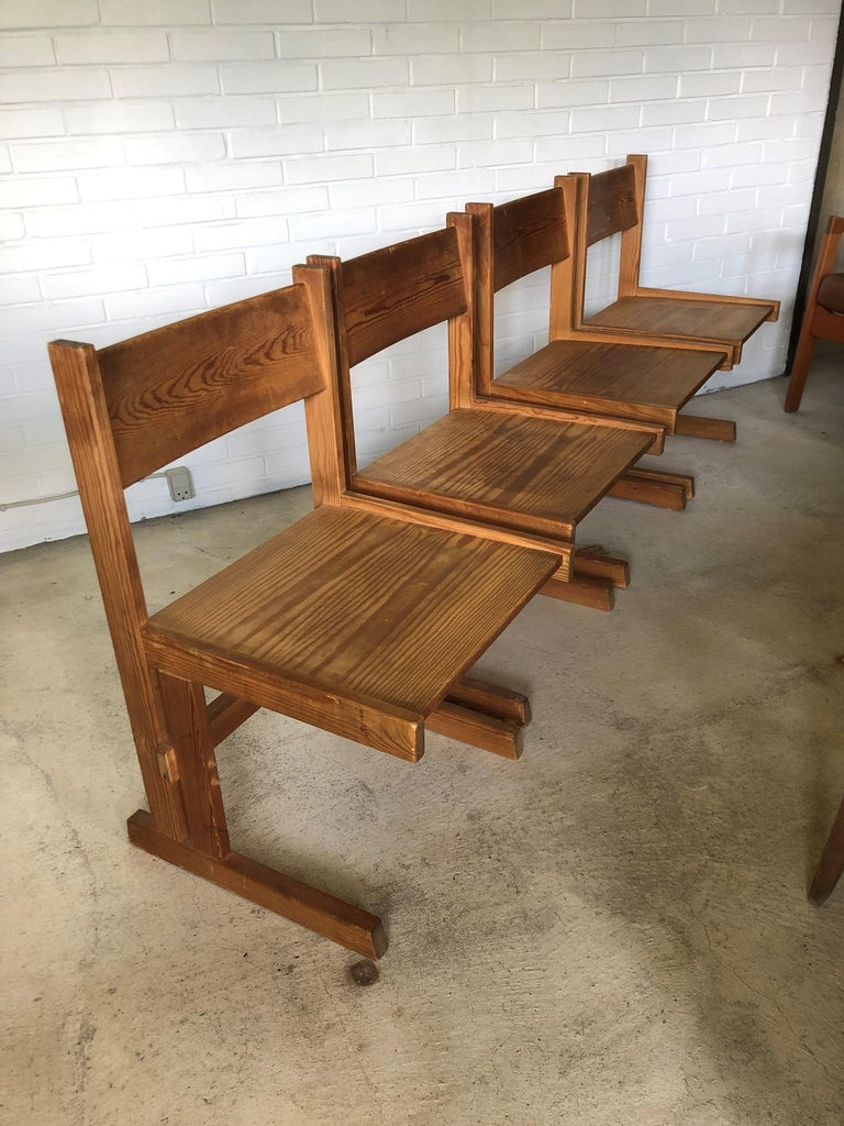 Set of Four Midcentury Solid Oregon Pine Chairs Danish, 1960s For Sale 3