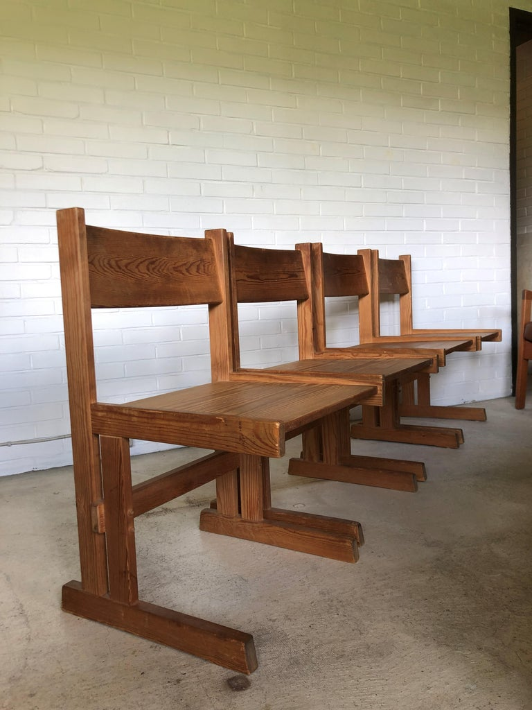 Set of Four Midcentury Solid Oregon Pine Chairs Danish, 1960s For Sale 4