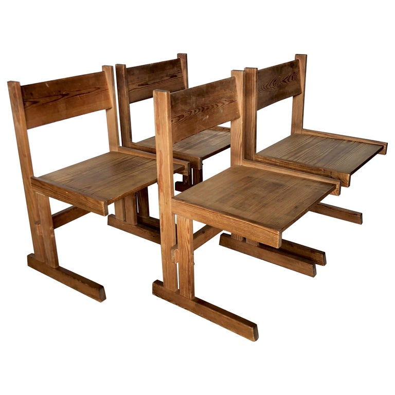 Set of Four Midcentury Solid Oregon Pine Chairs Danish, 1960s For Sale
