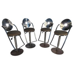 Set of Four Midcentury Steel Bar Stools