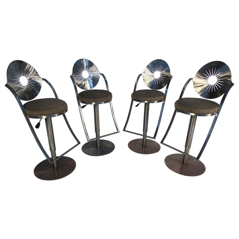 Set of Four Midcentury Steel Bar Stools For Sale