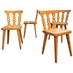 Set of Four Midcentury Swedish Pine Dining Chairs
