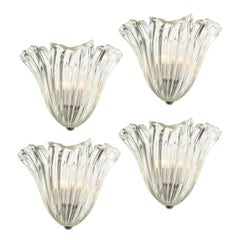 Set of Four Mid Century Translucent Stylized Anemone Sconces by Barovier e Toso