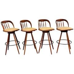 Set of Four Midcentury Walnut Barstools