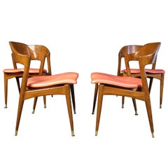 Set of Four Midcentury Walnut Chairs