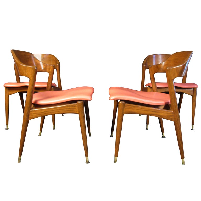 Set of Four Midcentury Walnut Chairs For Sale