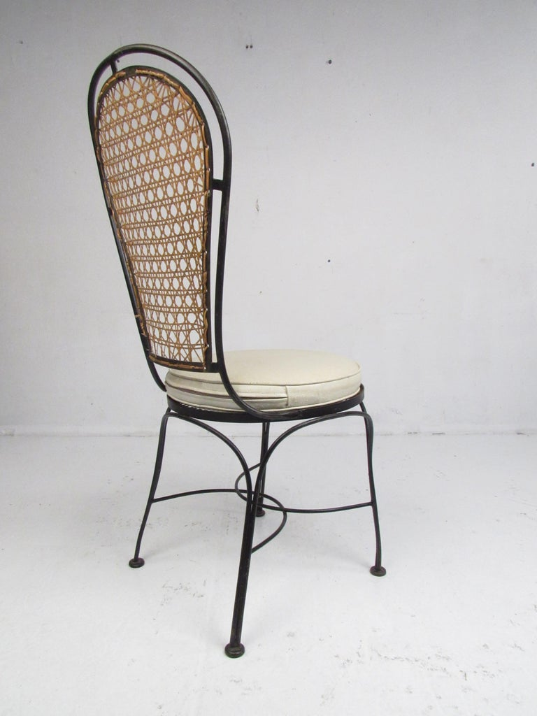 Set Of Four Midcentury Wrought Iron Dining Chairs With A