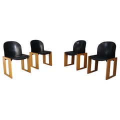 Set of Four Midcentury Afra and Tobia Scarpa Chairs in Black Leather for B&B