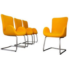 Set of Four Midcentury Armchairs by Moroso with Original Label and Fabric, 1970s