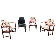 Set of Four Midcentury Arne Hovmand Olsen Danish Teak Armchairs and Side Chairs