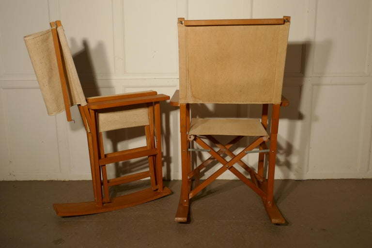 Mid Century Modern Set Of Four Midcentury Beech And Canvas Rocking Directors Chairs For