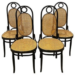 Set of Four Midcentury Bentwood Cane Dining Chairs Italy Attributed to Thonet