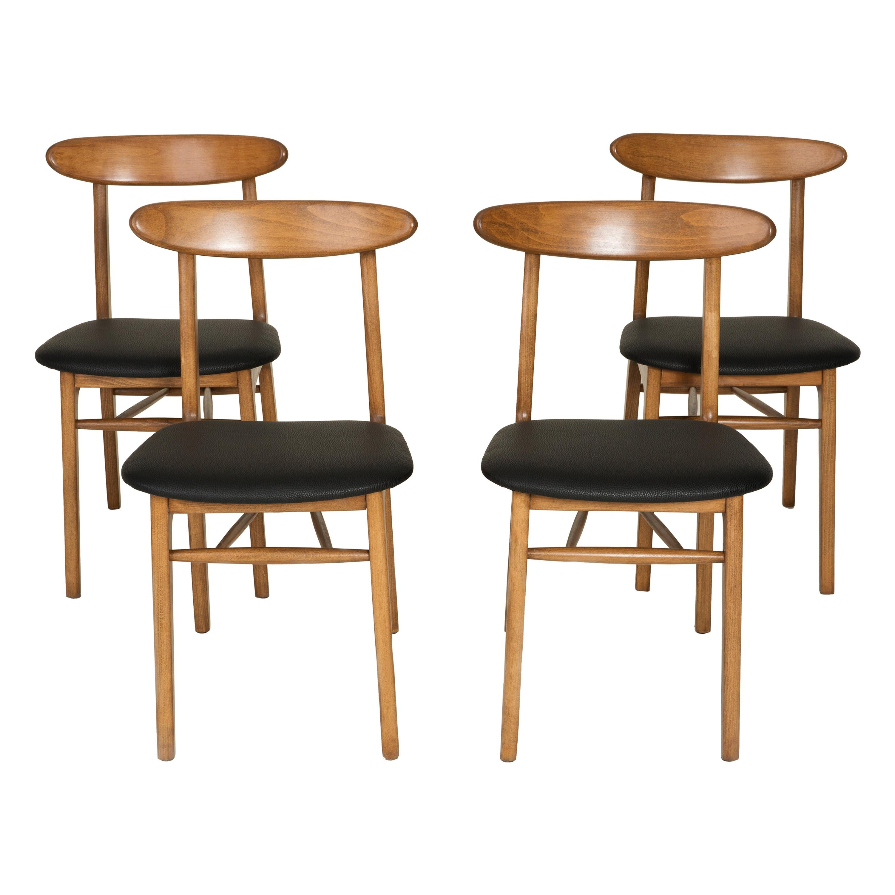 Set of Four Midcentury Black Leather Dining Chairs, 1960s