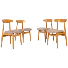 Set of Four Midcentury Black Pixel Dining Chairs, 1960s