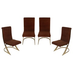 Set of Four Midcentury Brass Side Chairs