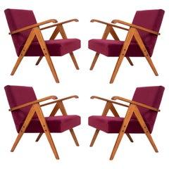 Set of Four Midcentury Burgundy Velvet VAR Armchairs, Europe, 1960s.