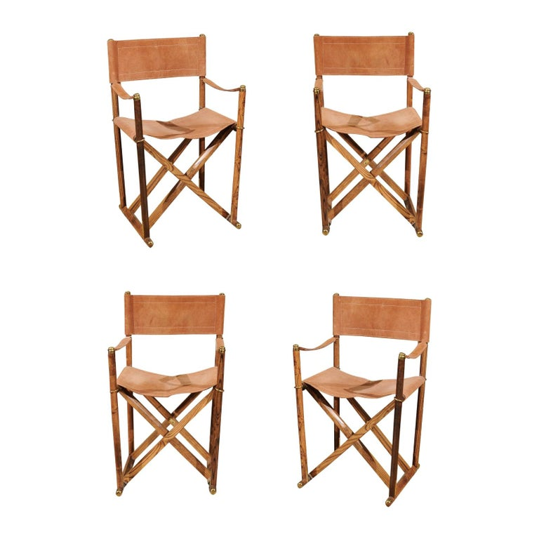 Set of Four Midcentury Campaign Folding Chairs For Sale